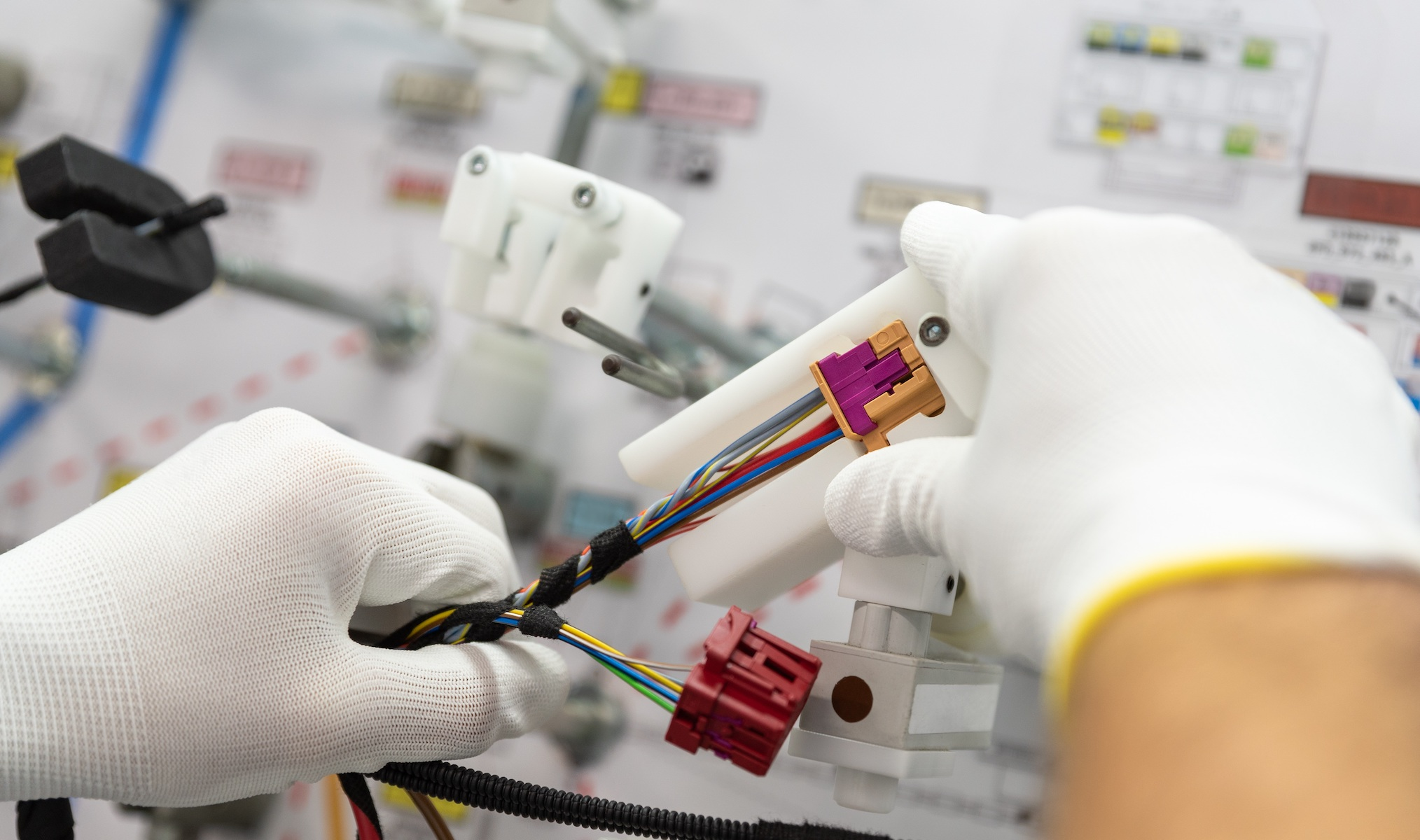 wiring harness production on layup board - cable assemblies